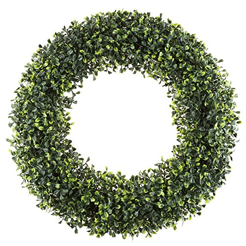 White Artificial Wreath - Boxwood Wreath, Artificial Wreath for the Front Door by Pure Garden, Home Décor, UV Resistant - 19.5 Inches