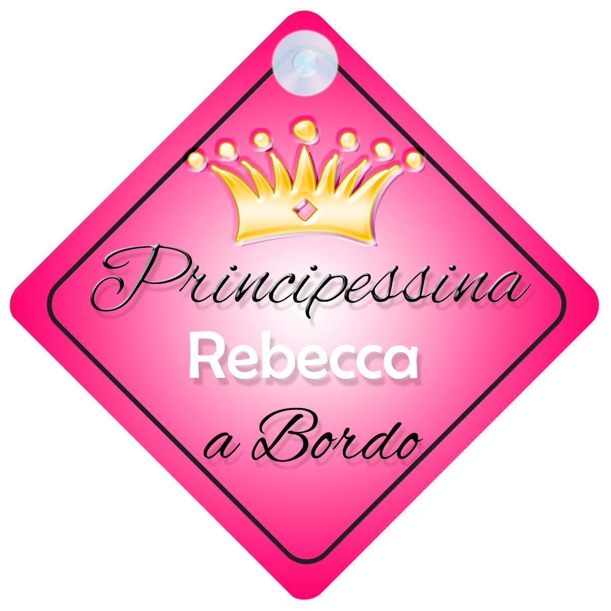 Principessina Rebecca (001) adesivo bimbo / bambina / neonato a bordo per femmina adesivo macchina, bimbi, bambini, famiglia mybabyonboard UK