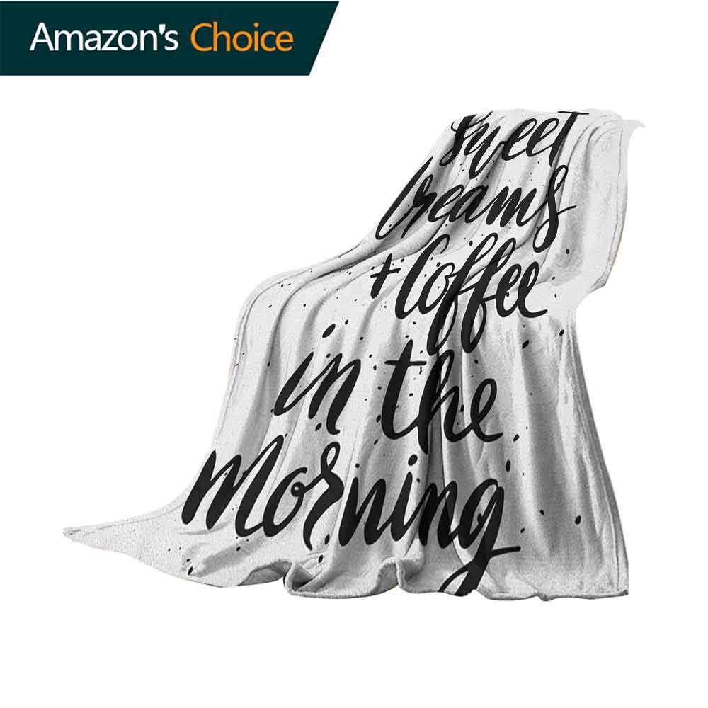 Sweet Dreams Baby Blanket,Sweet Dreams and Coffee in The Morning Hand Drawn Text Paint Splashes Weighted for Adults Kids,Better Deeper Sleep,50'' Wx70 L Black and White