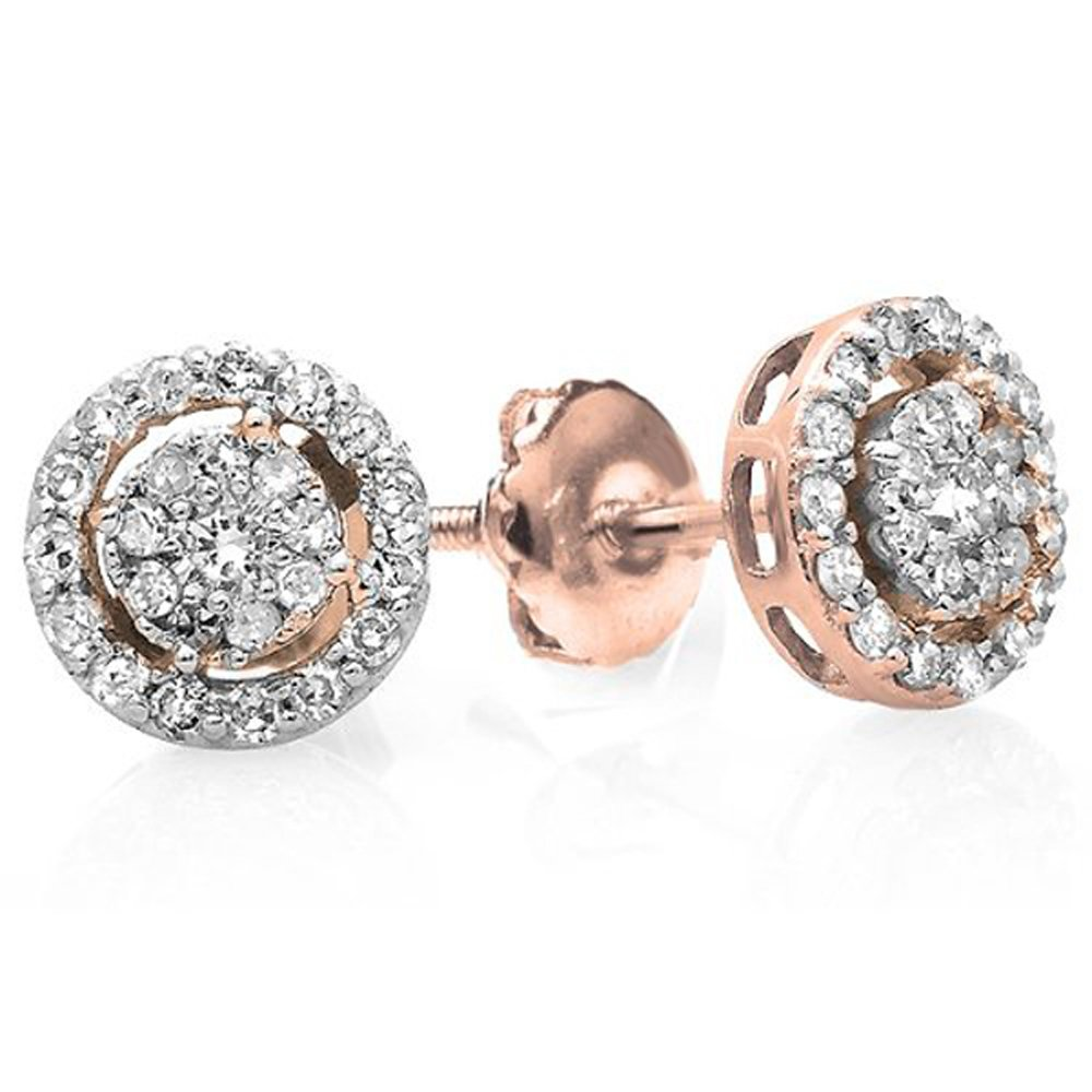 0.40 Carat (ctw) 14K Rose Gold Round Cut Diamond Round Shape Cluster Earrings Look of 1 CT each