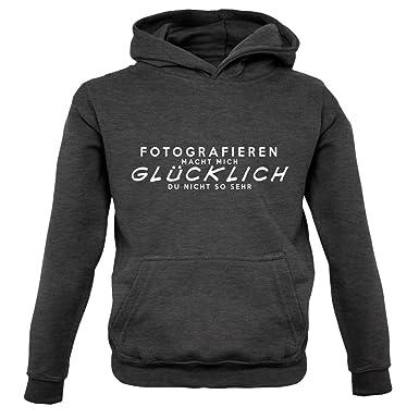 Fotografieren macht mich glücklich - Kinder Hoodie/Kapuzenpullover -  Dunkelgrau - L (7-