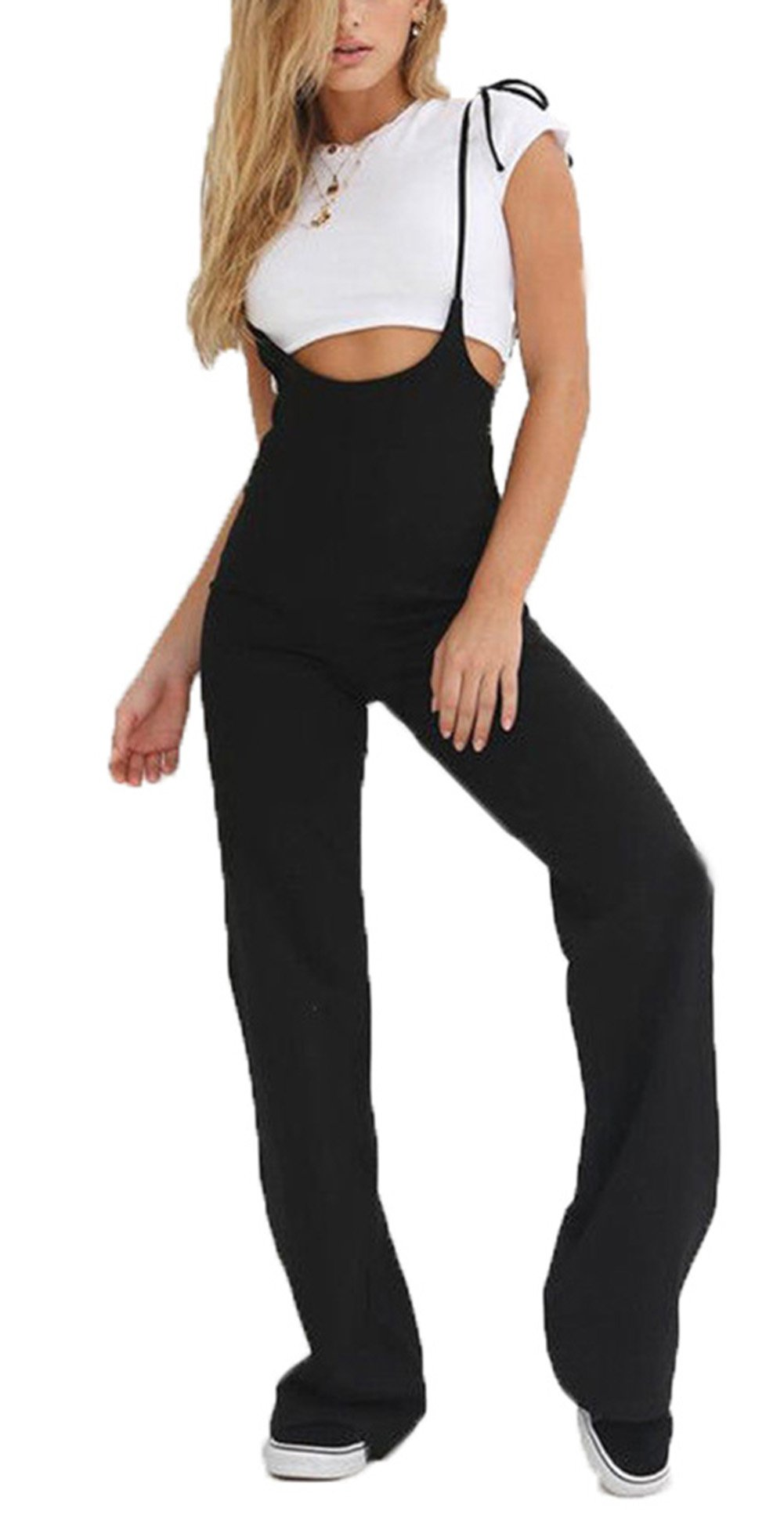 doublebabyjoy Womens High Waist Sexy Spaghetti Strap Jumpsuit Bootcut Solid Black Romper Suspender Pants Trousers (Black, L)