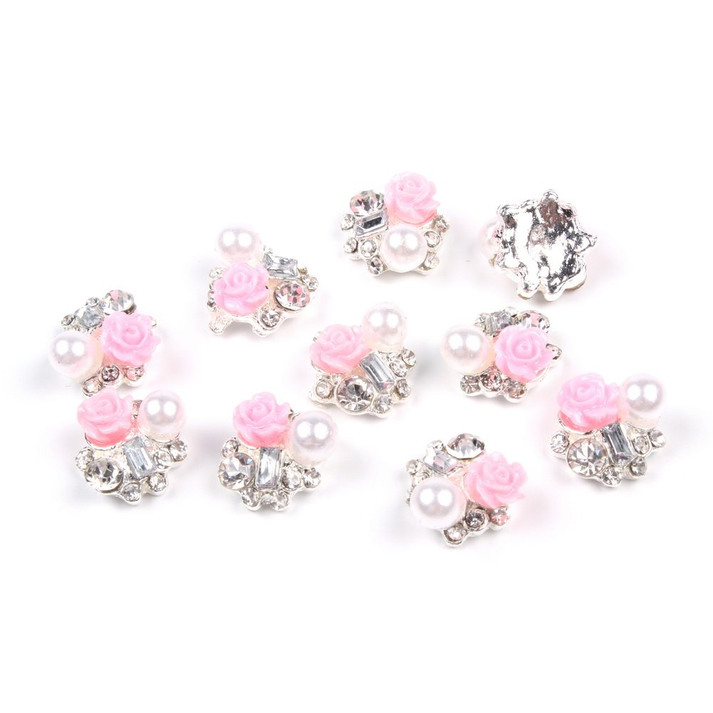 So Beauty 10 Pieces 3D Nail Art with Rhinestone and Artificial Pearl Slices Glitters DIY Decorations Forever Love