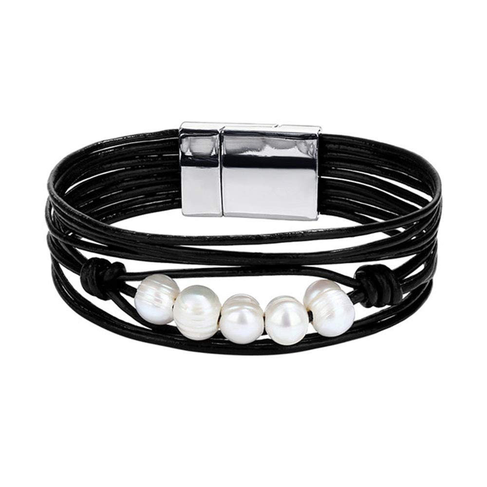Jiuyuan Vintage Multiple Layers Leather Bracelets New Simulated Pearl Charms