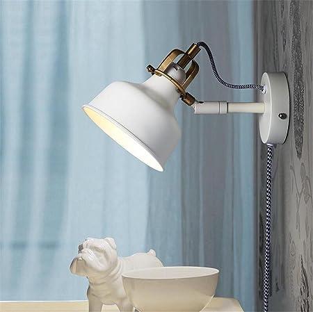Atmko®Aplique de Pared Lámpara de Pared Pared moderna luces pared Apliques de Pared aplique dormitorio escalera pasillo iluminación Swing brazo forja pared lámpara E27 blanco: Amazon.es: Hogar