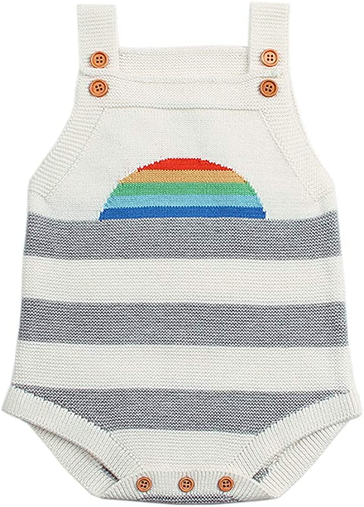 Baby Kids Romper,Fineser Fanshion Infant Toddler Baby Boys Girls Sleeveless Rainbow Knitted Suspender Rompers Jumpsuit 6-24M