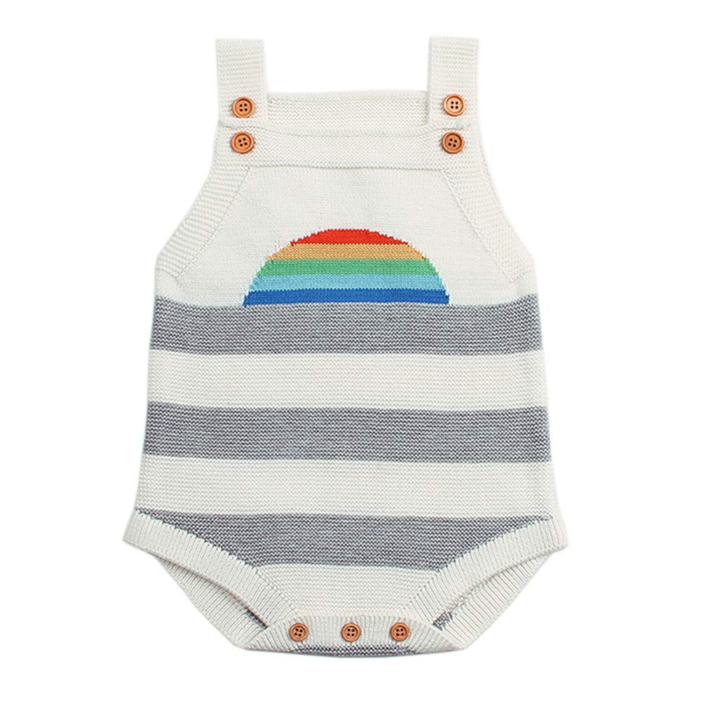 LIKESIDE Toddler Newborn Baby Boys Girls Knitted Rainbow Rompers Jumpsuit Outfit