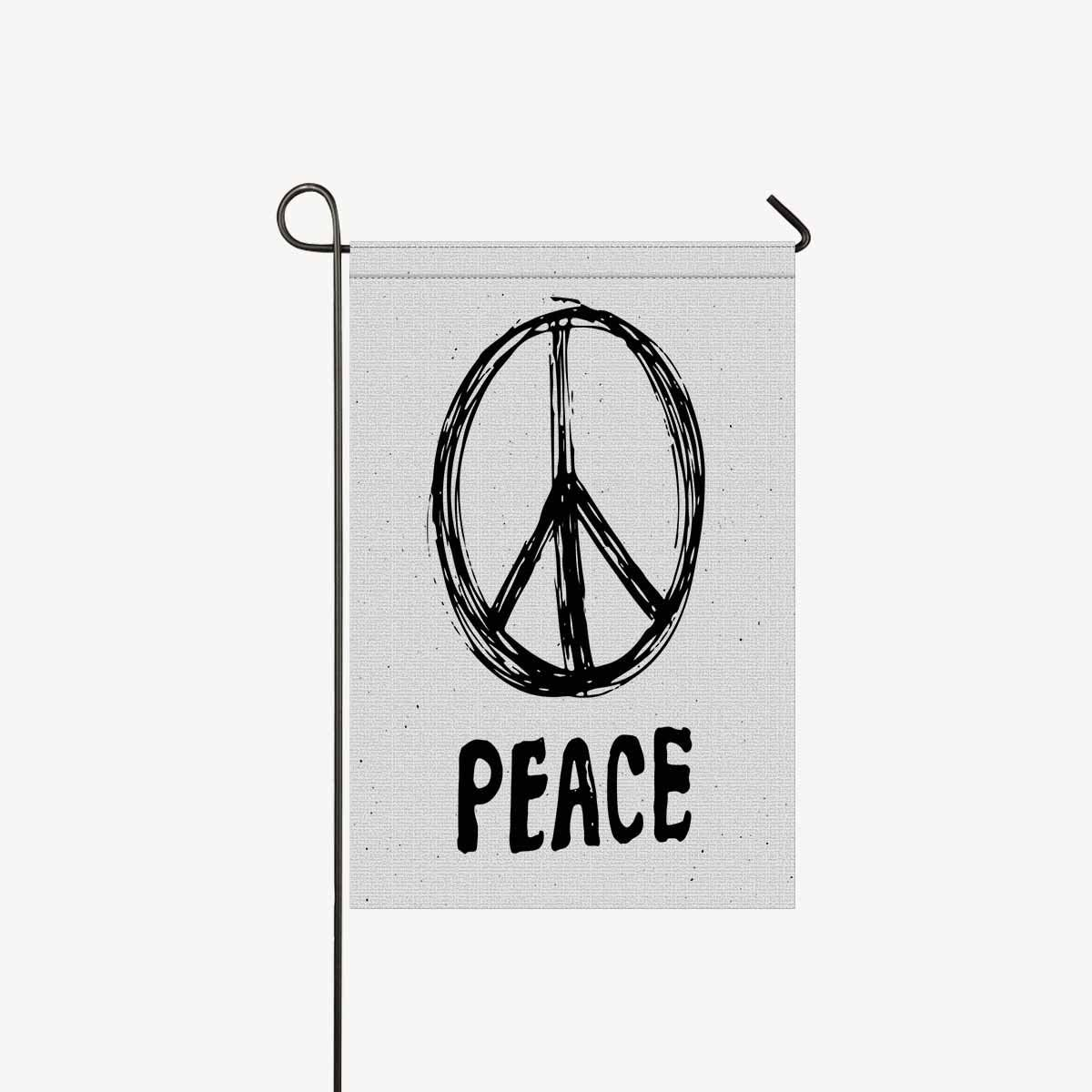 InterestPrint Peace Symbol Grunge Hippie or Pacifist Sign Garden Flag House Banner, Decorative Yard Flag for Wishing Party Home Outdoor Decor, 12