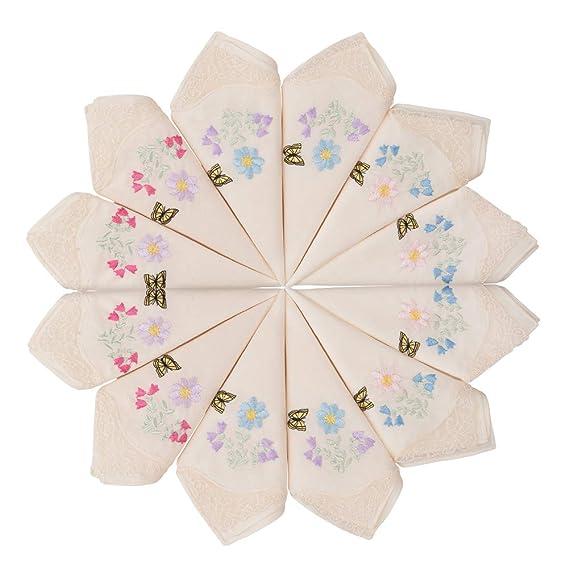 HOULIFE Damen Taschent/ücher aus Baumwolle Weich Gr/ün Blumen Stickereien Stofftaschent/ücher mit Spitzen 6//12 St/ücke 29x29cm Weihnachtsgeschenke