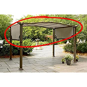 This Item Replacement Canopy For Sears Garden Oasis Pergola S PG11D1 Light  Polyester Fabric With Brown Trim And Grommet Holes