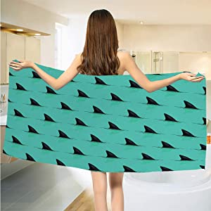 Gene Washington Marine Quick Dry Bath Towels Wrap Shark Fins in The Sea Danger in Ocean Scary Creature Swimming Illustration Soft Face Towels for Bathroom W27.5 x L55 Inch Seafoam and Black