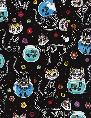 Timeless Treasures Day of The Dead Kitty Quilt Fabric Black Multi Style ()