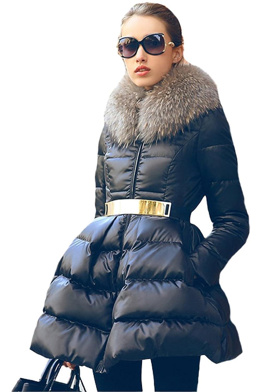 queenshiny Damen Lange Daunenjacke Gänsedaunen Mantel Jacke mit Waschbär Pelz kragen Mode Winter