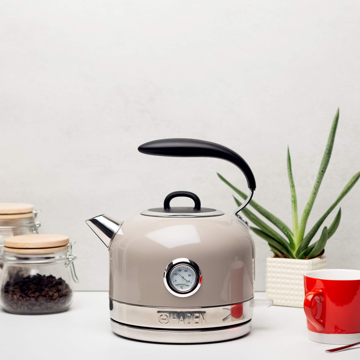 Haden Jersey Cordless Kettle - Electric Fast Boil Kettle with Temperature Gauge, 3000W, 1.5 Litre, Putty - SF120