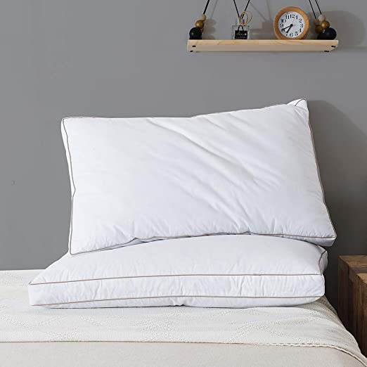 100/% Cotton Shell Standard Best for Back /& Side Sleeping Set of 2 Firm East Coast Bedding Duck Feather /& Down Fill Bed Pillows Medium Support