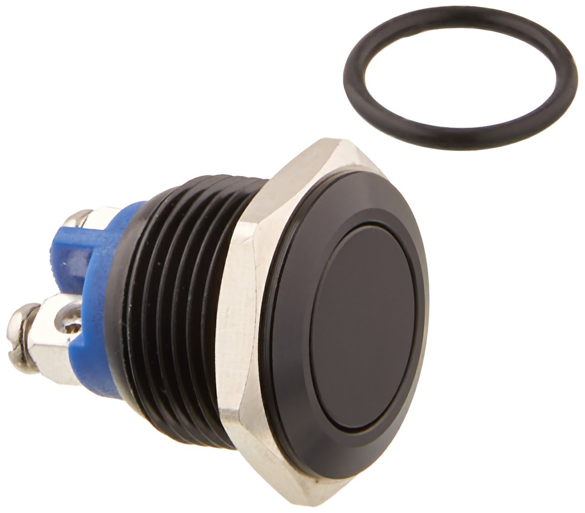 Black Shell Yakamoz 12mm 1//2 Metal Momentary Push Button Switch 2A//36V DC SPST 1NO Industrial Car Switch