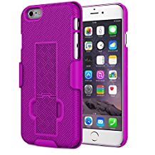 iPhone 6s Plus Case - MoKo [Revised Version] Slim Hard Shell Case with Kickstand and Locking Belt Swivel Clip for Apple iPhone 6 Plus / 6s Plus 5.5 Inch Smartphone, PURPLE