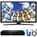 """Samsung UN40M5300 Flat 40"""" LED 1920x1080p 5 Series Smart TV (2017 Model) w/ HDMI DVD Player Bundle Includes, HDMI 1080p High Definition DVD Player, 6ft High Speed HDMI Cable and LED TV Screen Cleaner"""