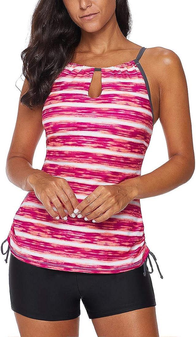 GWELL Damen Streifen Tankini Set Badeshirt mit Badeshorts 2-teiliger Badeanzug Bademode Badebekleidung Swimwear Beachwear Rot XL