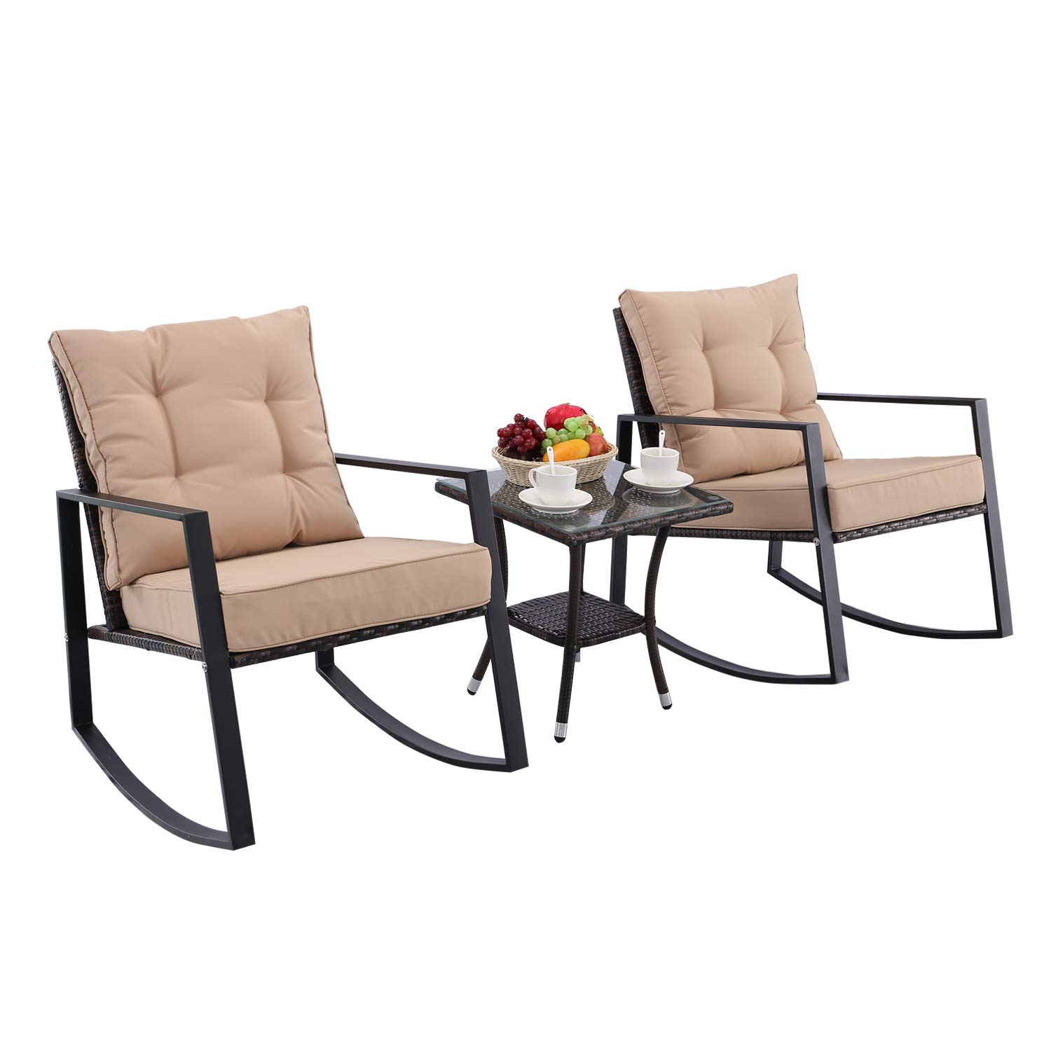 Do4U Outdoor Rocking Chair Set 3-Piece Patio Bistro Set Brown Cushioned PE Wicker Rattan Chairs with Coffee Table Porch Backyard Pool Garden