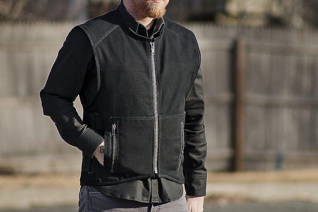 Mens Motorcycle Biker Heavy Duty Canvas Material SWAT Team Style Vest Blk New