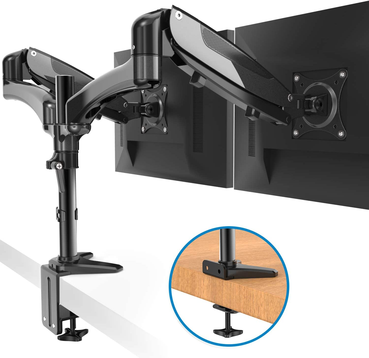 HUANUO Dual Monitor Stand - Height Adjustable Gas Spring Monitor Desk Mount Fits 2 Flat/Curved Computer Screens 15 to 27 Inch, Double Articulating Arms VESA Bracket with C Clamp, Grommet Mounting
