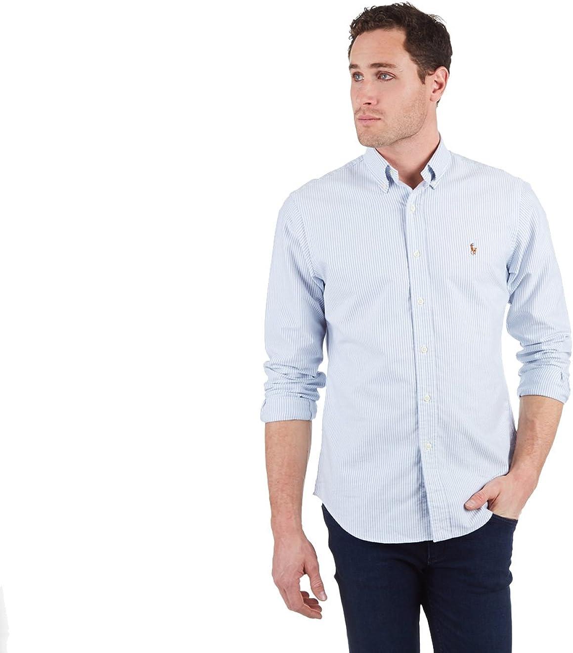 Polo Ralph Lauren Men's Standard Fit Oxford Shirt, WHITE/BLUE (XL)