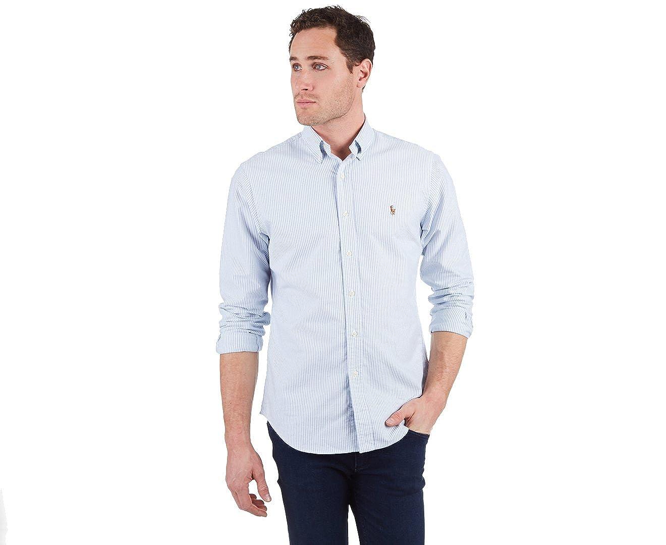 b256acaa9567 RALPH LAUREN Polo Mens Slim Fit Stripe Shirt, White/Blue (L) at Amazon  Men's Clothing store: