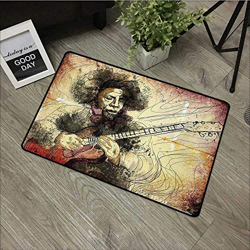 (Floor mat W35 x L59 INCH Jazz Music,Guitar Virtuoso Hand Drawn Style Illustration of a Guitar Player Musician,Brown Beige Black Our Bottom is Non-Slip and Will not let The Baby Slip,Door Mat Carpet)