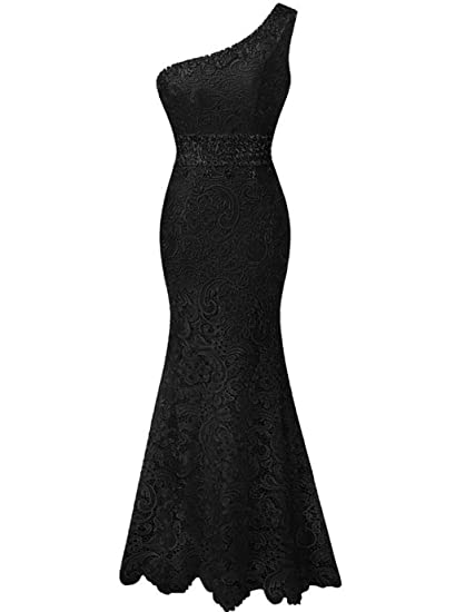 Fanciest Womens One Shoulder Mermaid Prom Dresses Lace Evening Formal Gowns Black UK6