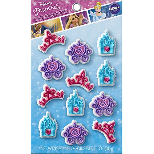 Wilton 710-7490 Disney Princess 12 Count Icing Decorations, Assorted