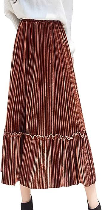 Holywin - Falda Plisada de Terciopelo para Mujer marrón S: Amazon ...