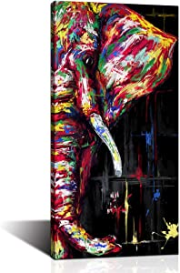 LoveHouse Elephant Wall Art Canvas Print Colorful Elephant Painting Picture Wildlife Animal Wall Decor Painting Style for Bedroom Living Room Office Home Decoration Stretched Ready to Hang 16x32inch