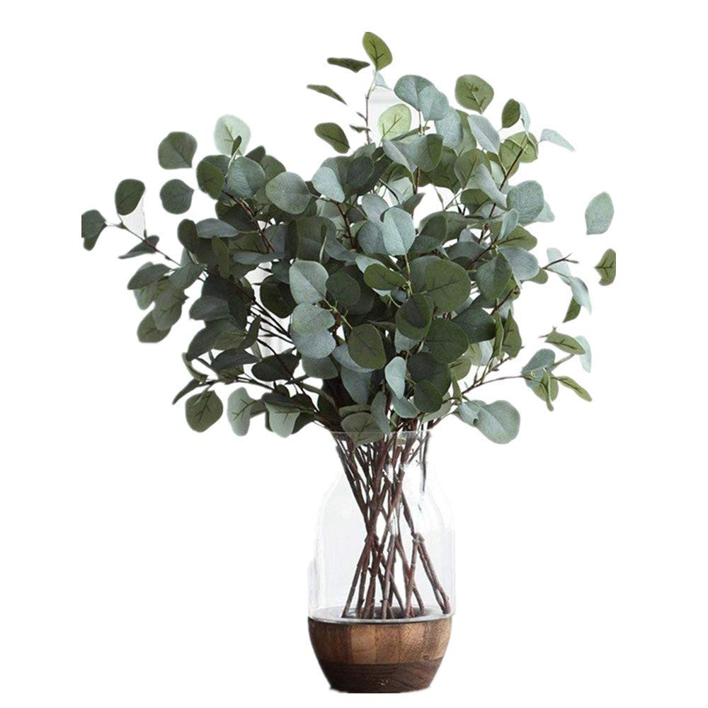 Nerseki Artificial Silver Dollar Eucalyptus Leaf Spray in Green Leaves Indoor Outside Home Garden Office Wedding Décor(3 Stems)