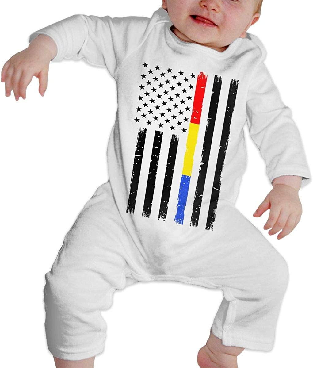 YELTY6F Thin Red Blue Gold Line Flag Printed Boys Girls Jumpsuit Long Sleeve Rompers White