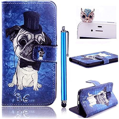 Samsung Galaxy S7 / SM-G930A / SM-G9300 2015 Cute Bow Flip Animal Colorful Holster Leather Case with Stand Holder Card Slot, Vandot Accessories Owl Sales
