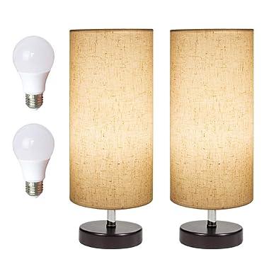 DEEPLITE Table Lamps Set of 2 Bedside Desk Lamps 2 Pack Set, LED Bulb Included, Minimalist Wood Table Lamps for Living Room Bedroom