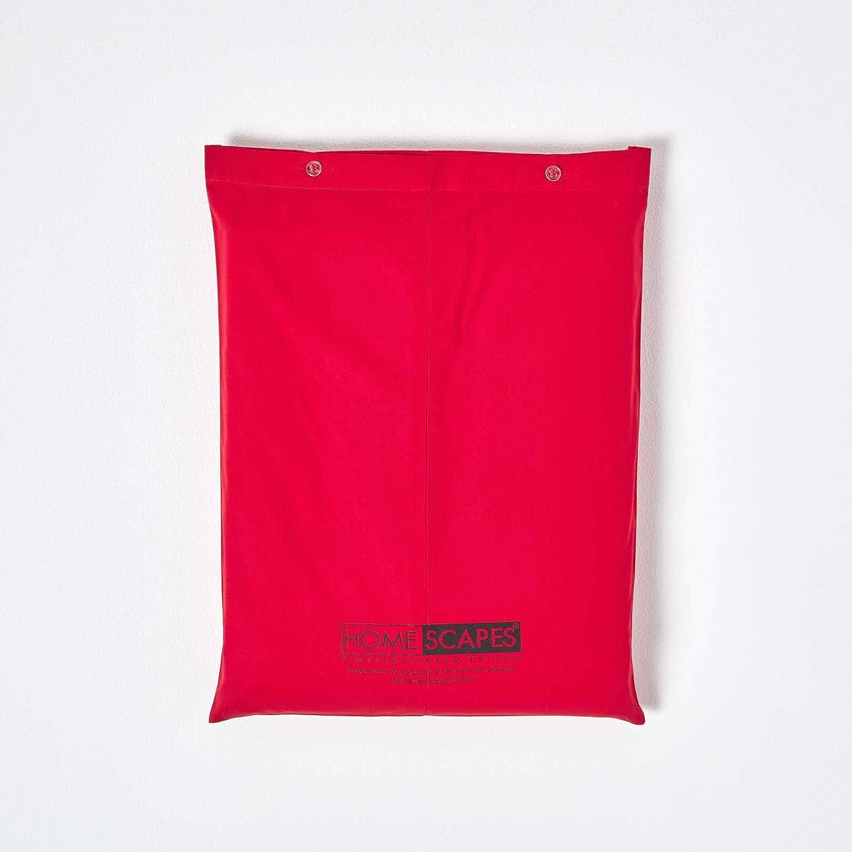 qualit/é Percale 80 Fils//cm/² Homescapes Housse de Couette de Luxe de Couleur Rouge pour 1 Personne de 140 x 200 cm Plus 1 taie doreiller 50 x 75 cm en Pur Coton dEgypte
