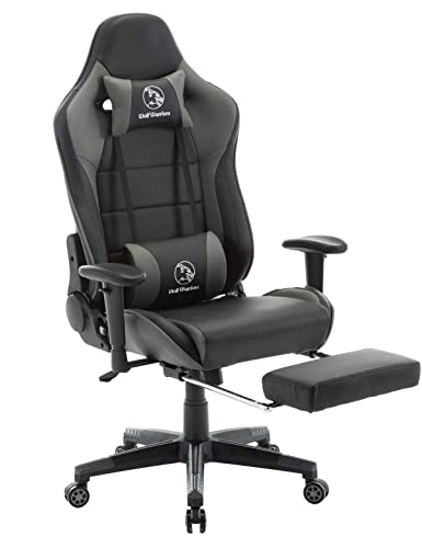 Gaming Chair with Footrest Ergonomic Computer Game Chair Seat Height Adjustment Recliner Swivel Rocker E-Sports Office Chair with Headrest and Lumbar Pillow Grey Black with Footrest