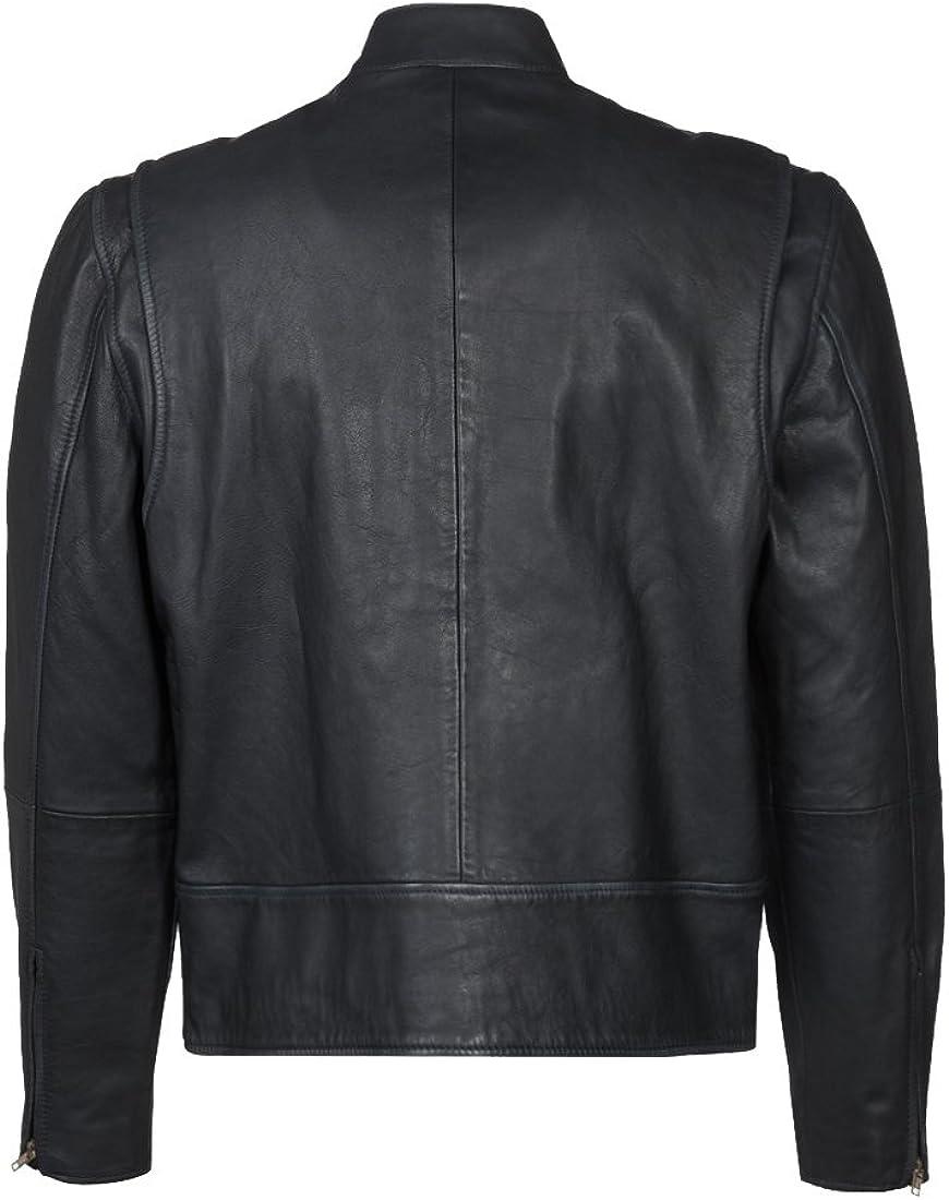 Mens Genuine Lambskin Leather Jacket Slim Fit Moto Biker Jacket T369