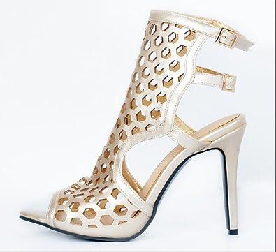 21288c32f038 YCMDM Women s Sandals gold Stiletto Heel Nightclub Party Evening Office  Career Fashion Shoes