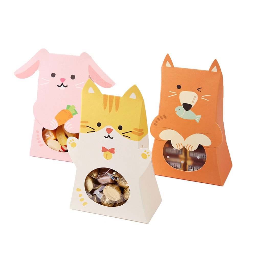 MAMS Set of 30 Animal Paper Candy Boxes Kids Birthday Baby Shower Bag with Window Party Favor(Cat/Fox/Rabbit)