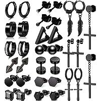 SAMOCO 17 Pairs Earrings for Men Black Stud Earrings Mens Stainless Steel Hoop Dangle Earrings Cool Loop Punk Huggie…