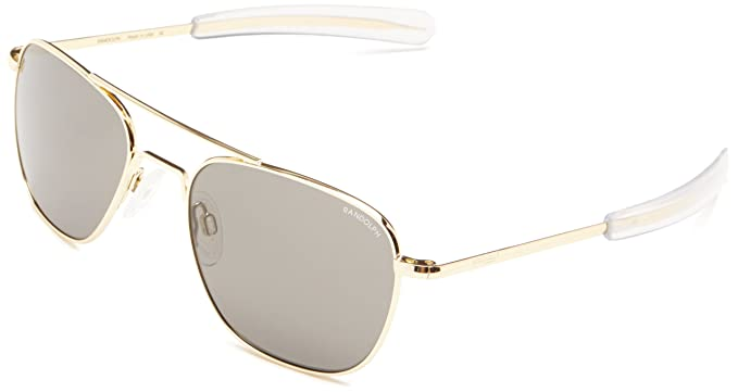 Randolph Aviator Square Sunglasses, 55, 23K Gold, Bayonet, Gray Lenses b5b87a94c9d4