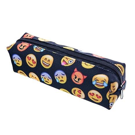 Emoji estuche de lona lindo lápiz bolsa Papelería Bolsa ...