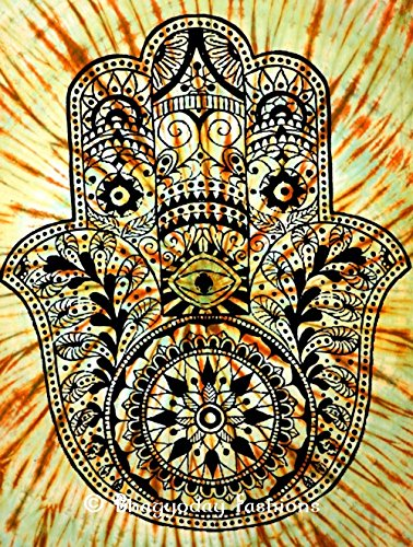 Hamsa Hand Tapestry Tie-dye Wall Hanging Hippie Bedspread Decorative Queen Throw
