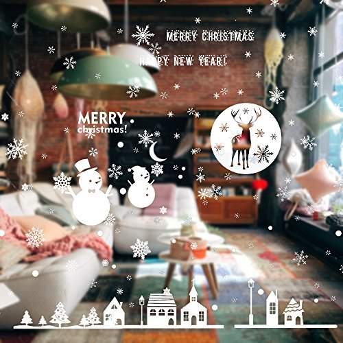 Christmas Window Clings Decal Non-adhesive Wall Stickers, White Snowflake and Christmas Tree New Year Home Party Decoration, Removable Window Stickers for Shopping Mall School - Sky Mall Shopping