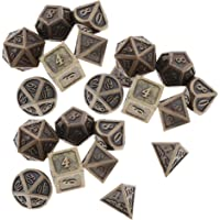 Baoblaze 3 Sets of 7 Polyhedral Metal Dice for Dragon Scale DND Pathfinder RPG Games