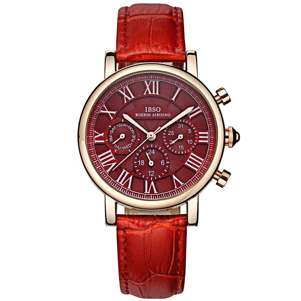 IBSO Women Brand Luxury Wristwatches Ladies Calendar Week Display 24 Hours Chronograph Analog Quartz Watches Red