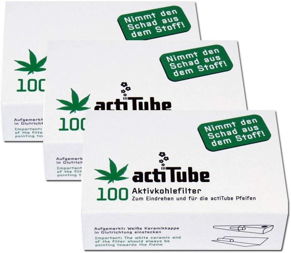 ActiTube - Juego de 300 filtros de carbón activo (3 cajas de 100 unidades, 9 mm, filtro de rosca, tubo)
